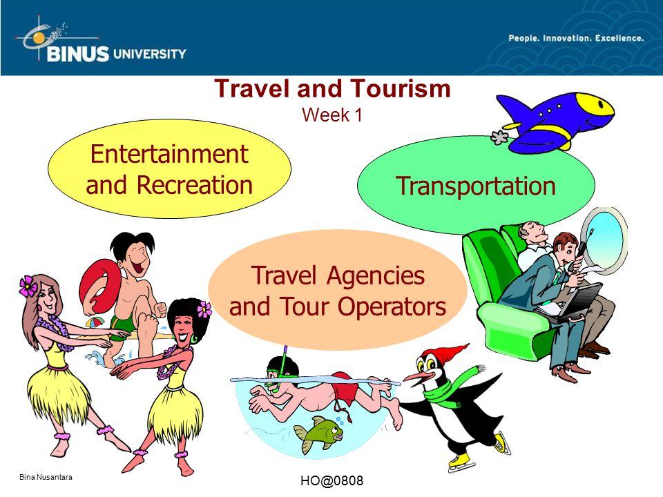 Bina Nusantara HO@0808 Travel and Tourism Week 1 Transportation Entertainment and Recreation Travel Agencies and Tour Operators