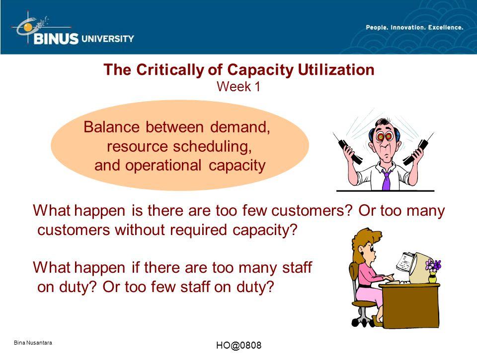 Bina Nusantara HO@0808 The Critically of Capacity Utilization Week 1 Balance between demand, resource scheduling, and operational capacity What happen