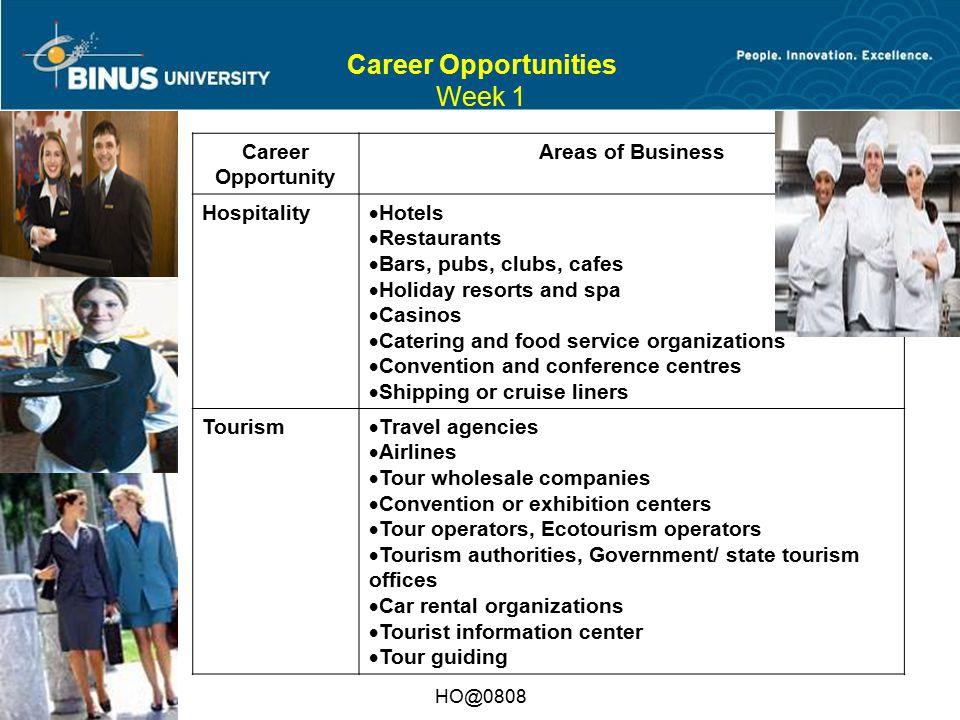 Bina Nusantara HO@0808 Career Opportunities Week 1 Career Opportunity Areas of Business Hospitality  Hotels  Restaurants  Bars, pubs, clubs, cafes