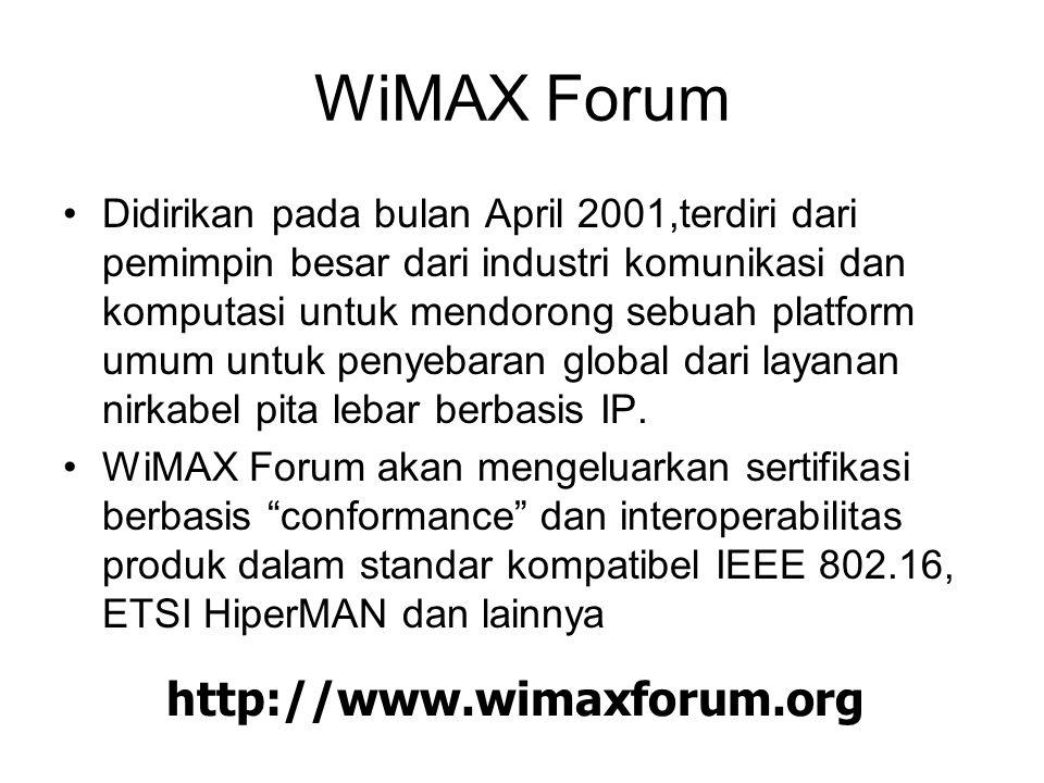 WiMAX Forum Didirikan pada bulan April 2001,terdiri dari pemimpin besar dari industri komunikasi dan komputasi untuk mendorong sebuah platform umum untuk penyebaran global dari layanan nirkabel pita lebar berbasis IP.
