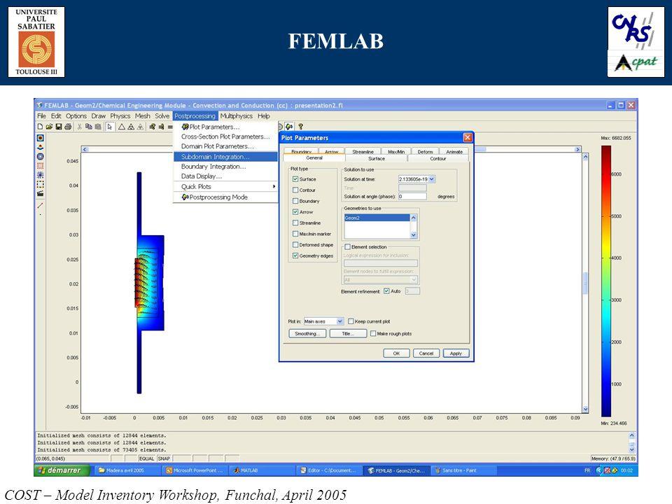 FEMLAB COST – Model Inventory Workshop, Funchal, April 2005