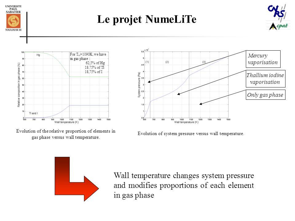 Le projet NumeLiTe Evolution of the relative proportion of elements in gas phase versus wall temperature.