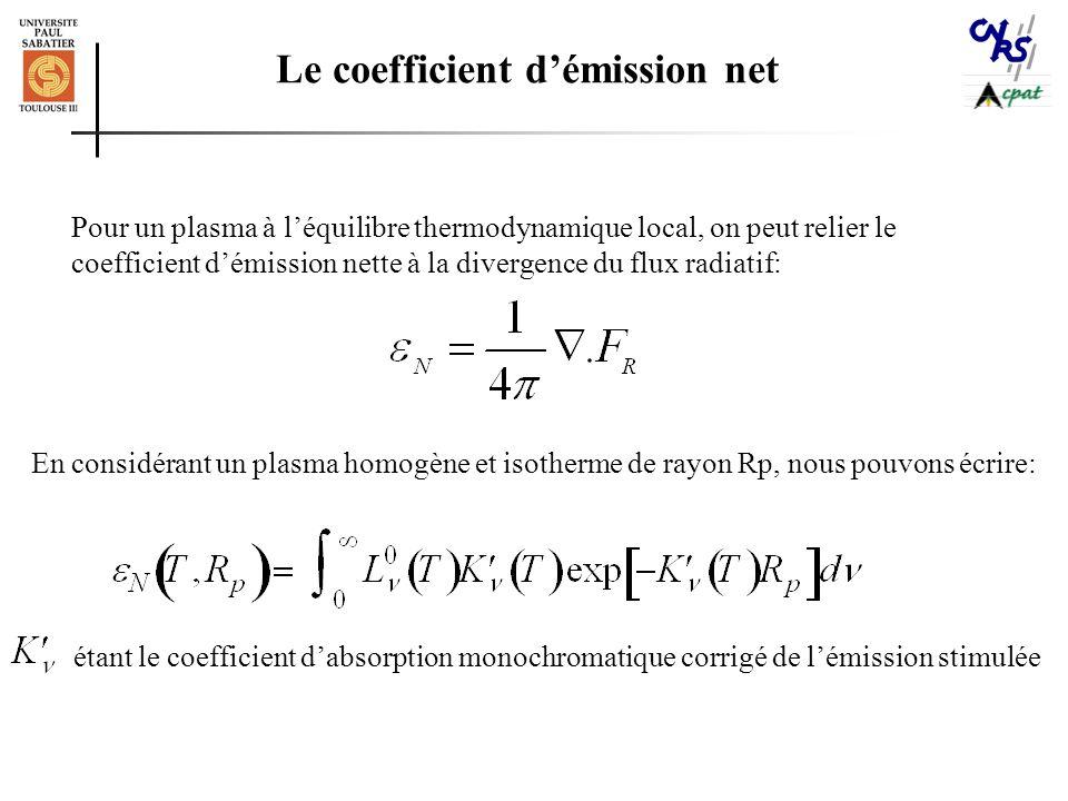 Le coefficient d'émission net Pour un plasma à l'équilibre thermodynamique local, on peut relier le coefficient d'émission nette à la divergence du flux radiatif: étant le coefficient d'absorption monochromatique corrigé de l'émission stimulée En considérant un plasma homogène et isotherme de rayon Rp, nous pouvons écrire: