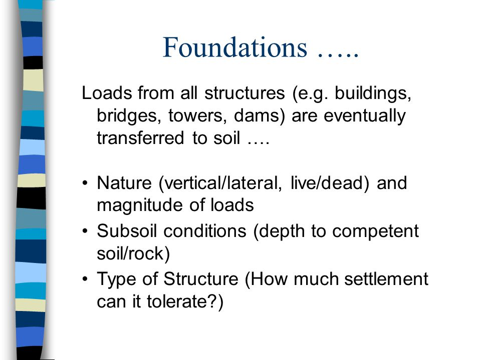 Foundations ….. Loads from all structures (e.g.
