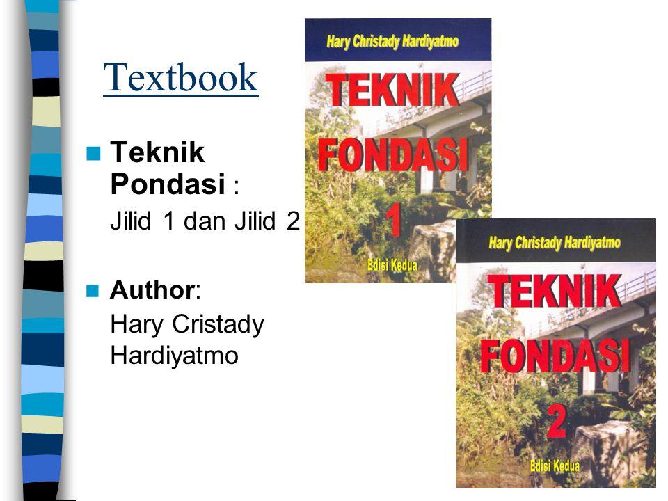 Textbook Teknik Pondasi : Jilid 1 dan Jilid 2 Author: Hary Cristady Hardiyatmo