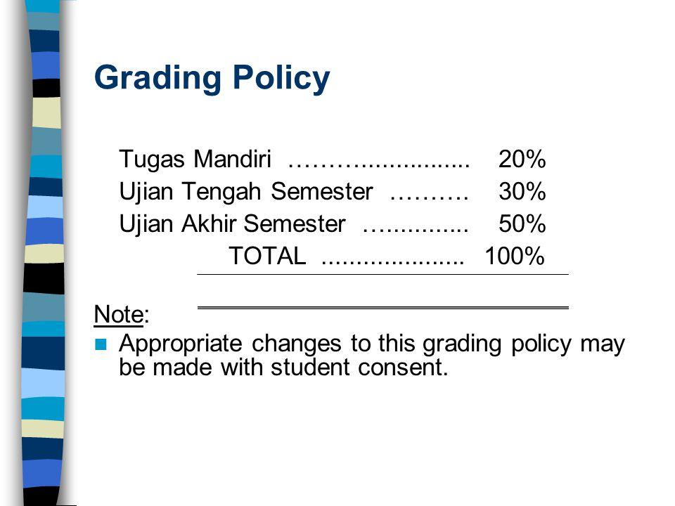 Grading Policy Tugas Mandiri ………................ 20% Ujian Tengah Semester ……….