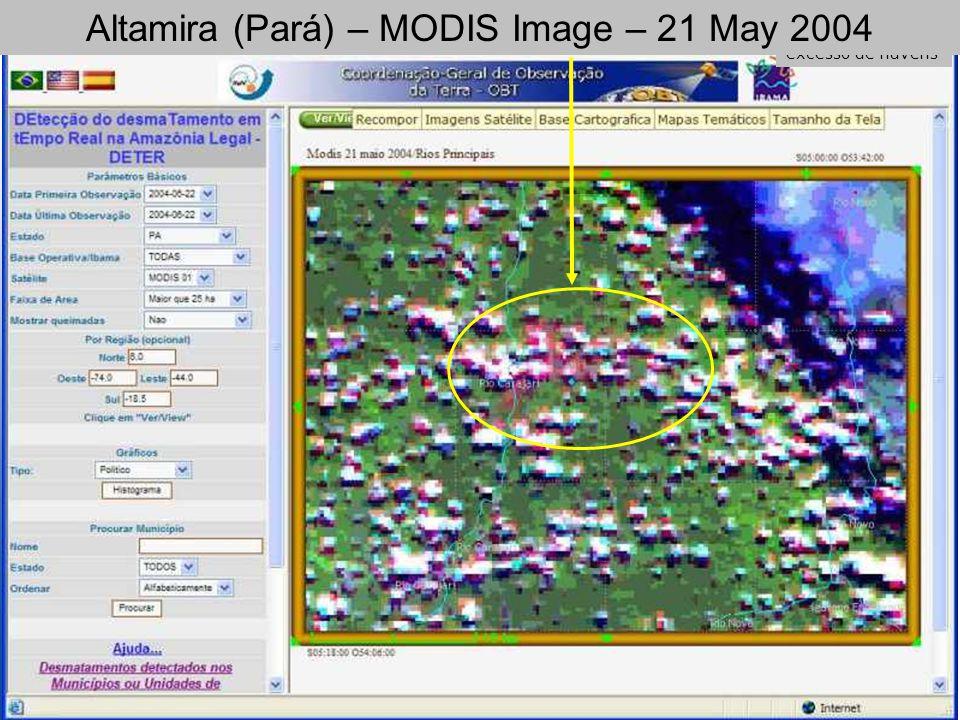 Imagem Modis de 2004-05-21, com excesso de nuvens Altamira (Pará) – MODIS Image – 21 May 2004