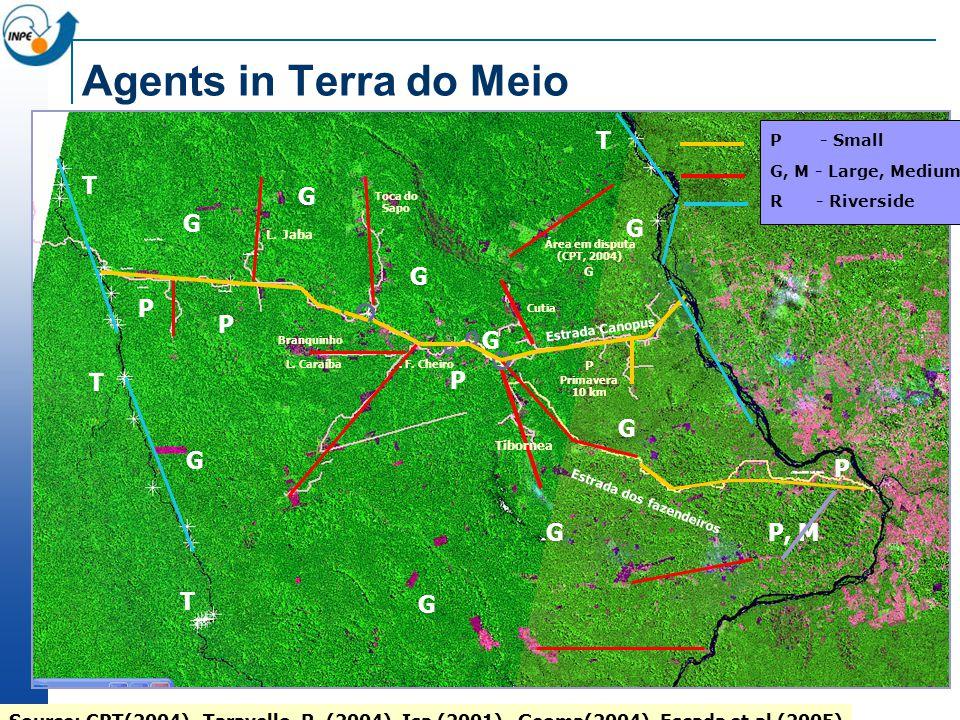 P, M Tibornea. F. Cheiro Área em disputa (CPT, 2004) G Branquinho Cutia L. Jaba Toca do Sapo L. Caraíba Estrada Canopus Estrada dos fazendeiros P Prim