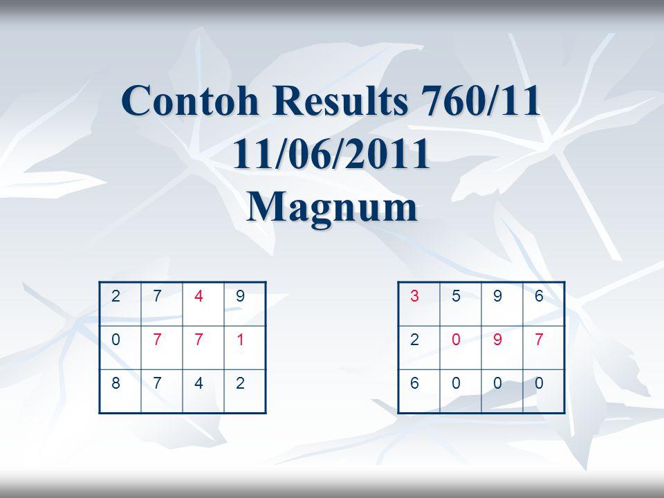 Contoh Results 760/11 11/06/2011 Magnum 2 7 4 9 0 7 7 1 8 7 4 2 3 5 9 6 2 0 9 7 6 0 0 0