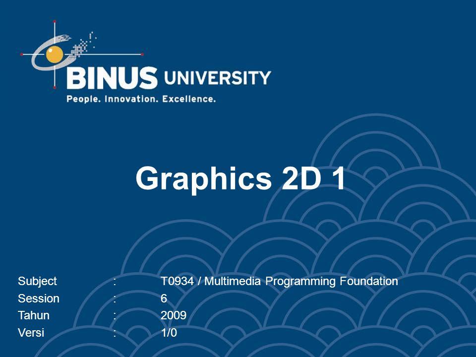 Graphics 2D 1 Subject:T0934 / Multimedia Programming Foundation Session:6 Tahun:2009 Versi:1/0