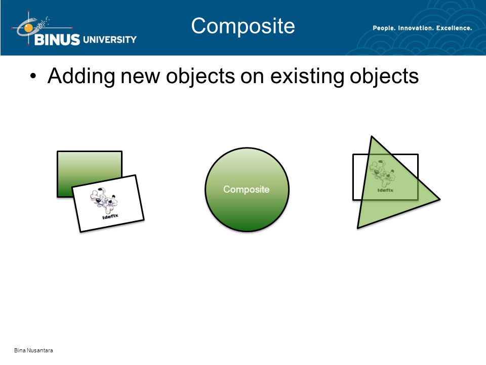 Composite Adding new objects on existing objects Bina Nusantara Composite