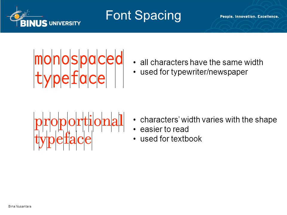 Font Spacing Bina Nusantara all characters have the same width used for typewriter/newspaper characters' width varies with the shape easier to read used for textbook