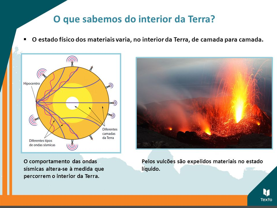  O estado físico dos materiais varia, no interior da Terra, de camada para camada. Pelos vulcões são expelidos materiais no estado líquido. O comport