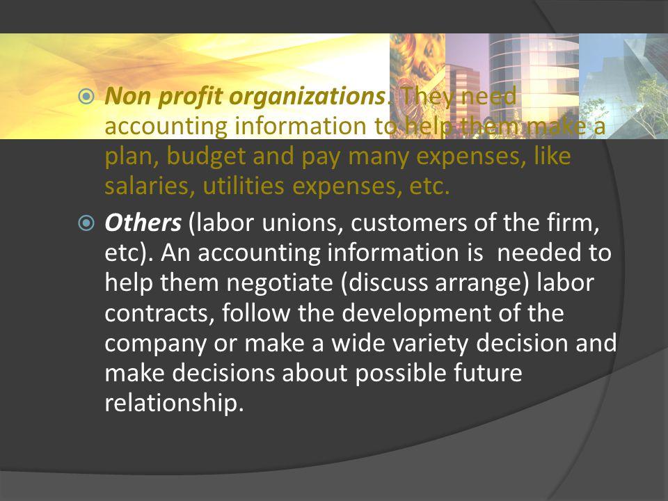  Non profit organizations.
