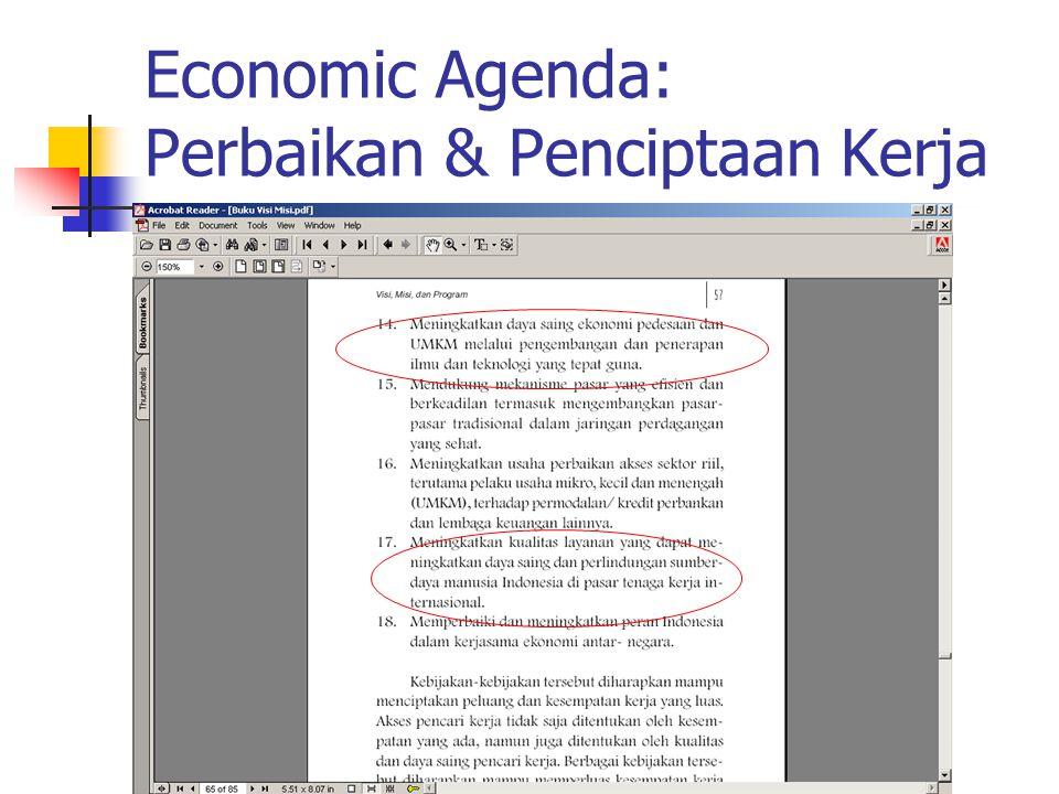 Economic Agenda: Perbaikan & Penciptaan Kerja