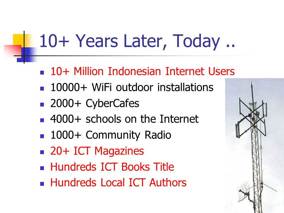 10+ Years Later, Today.. 10+ Million Indonesian Internet Users 10000+ WiFi outdoor installations 2000+ CyberCafes 4000+ schools on the Internet 1000+