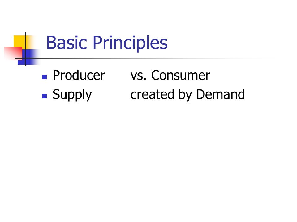 Basic Principles Producervs. Consumer Supplycreated by Demand