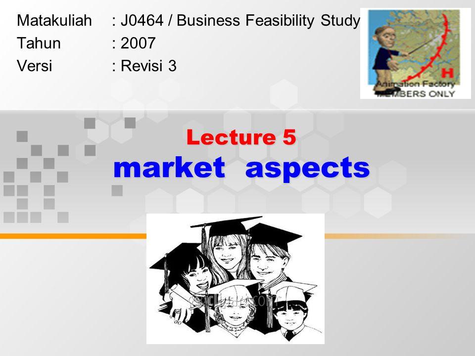 Lecture 5 market aspects Matakuliah: J0464 / Business Feasibility Study Tahun: 2007 Versi: Revisi 3