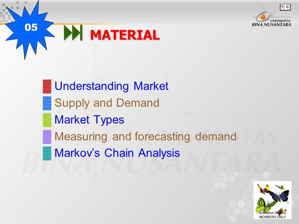  MATERIAL ▓ Understanding Market ▓ Supply and Demand ▓ Market Types ▓ Measuring and forecasting demand ▓ Markov's Chain Analysis 05
