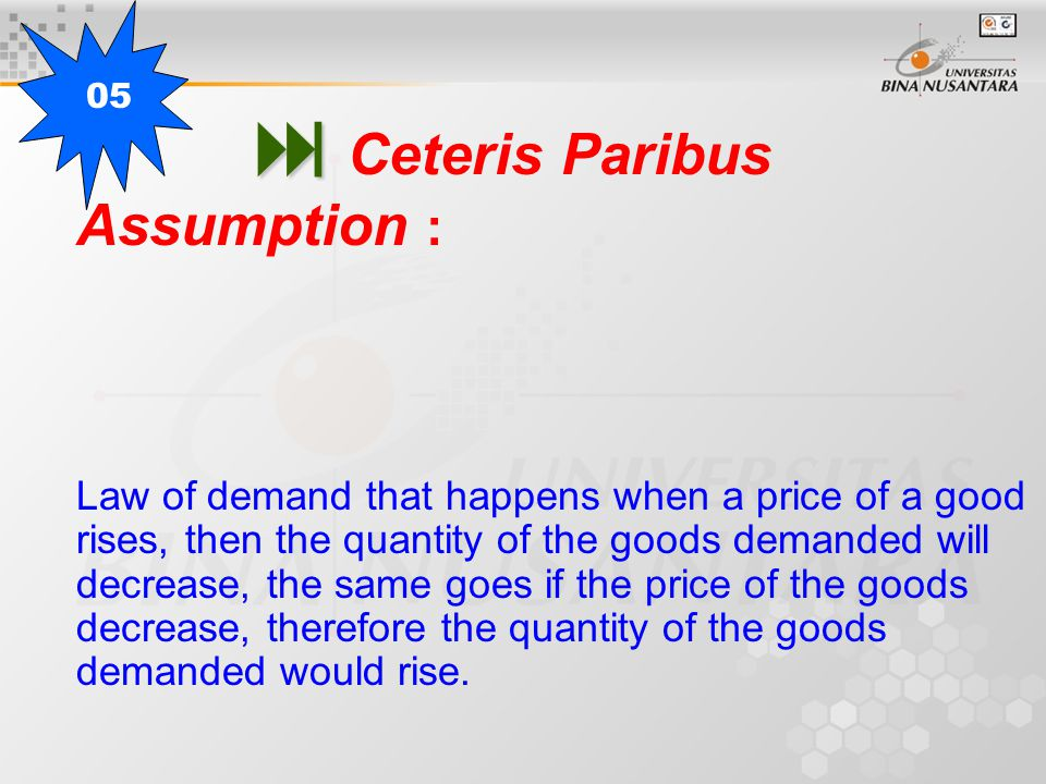   Ceteris Paribus Assumption : Law of demand that happens when a price of a good rises, then the quantity of the goods demanded will decrease, the same goes if the price of the goods decrease, therefore the quantity of the goods demanded would rise.