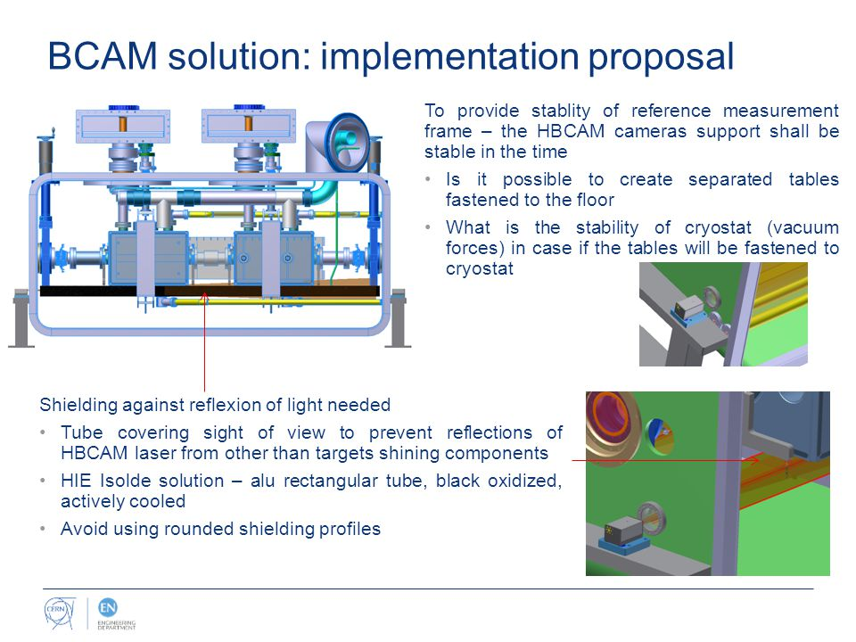 BCAM solution: implementation proposal To provide stablity of reference measurement frame – the HBCAM cameras support shall be stable in the time Is it possible to create separated tables fastened to the floor What is the stability of cryostat (vacuum forces) in case if the tables will be fastened to cryostat Shielding against reflexion of light needed Tube covering sight of view to prevent reflections of HBCAM laser from other than targets shining components HIE Isolde solution – alu rectangular tube, black oxidized, actively cooled Avoid using rounded shielding profiles
