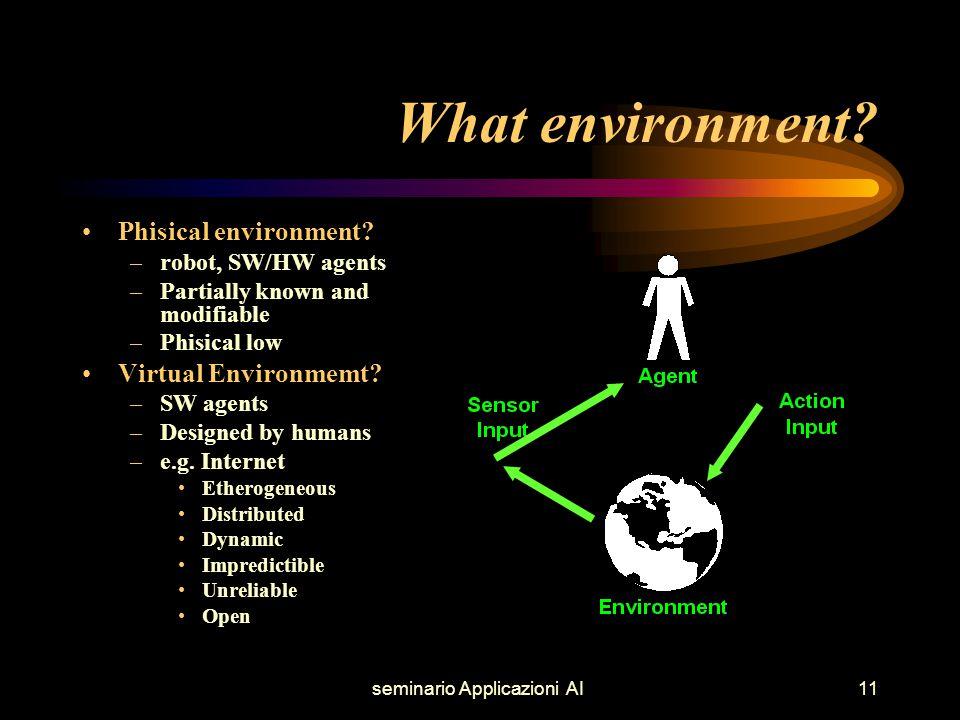 seminario Applicazioni AI11 What environment. Phisical environment.