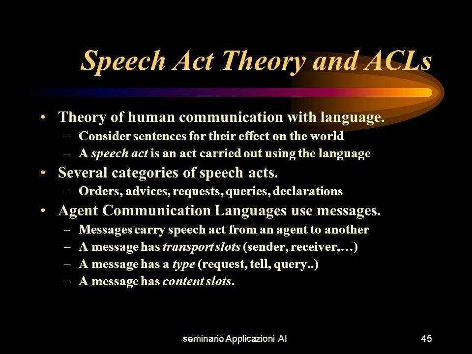 seminario Applicazioni AI45 Speech Act Theory and ACLs Theory of human communication with language.