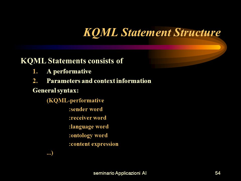 seminario Applicazioni AI54 KQML Statement Structure KQML Statements consists of 1.A performative 2.Parameters and context information General syntax: (KQML-performative :sender word :receiver word :language word :ontology word :content expression...)