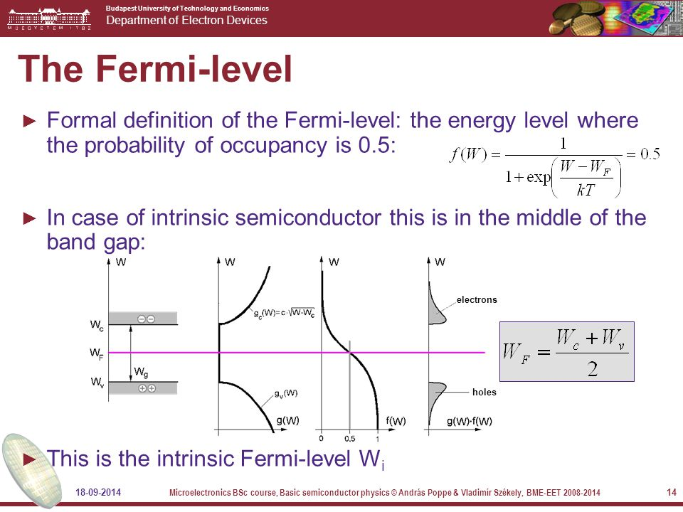 Budapest University of Technology and Economics Department of Electron Devices 18-09-2014 Microelectronics BSc course, Basic semiconductor physics © András Poppe & Vladimír Székely, BME-EET 2008-2014 14 The Fermi-level ► Formal definition of the Fermi-level: the energy level where the probability of occupancy is 0.5: ► In case of intrinsic semiconductor this is in the middle of the band gap: ► This is the intrinsic Fermi-level W i electrons holes