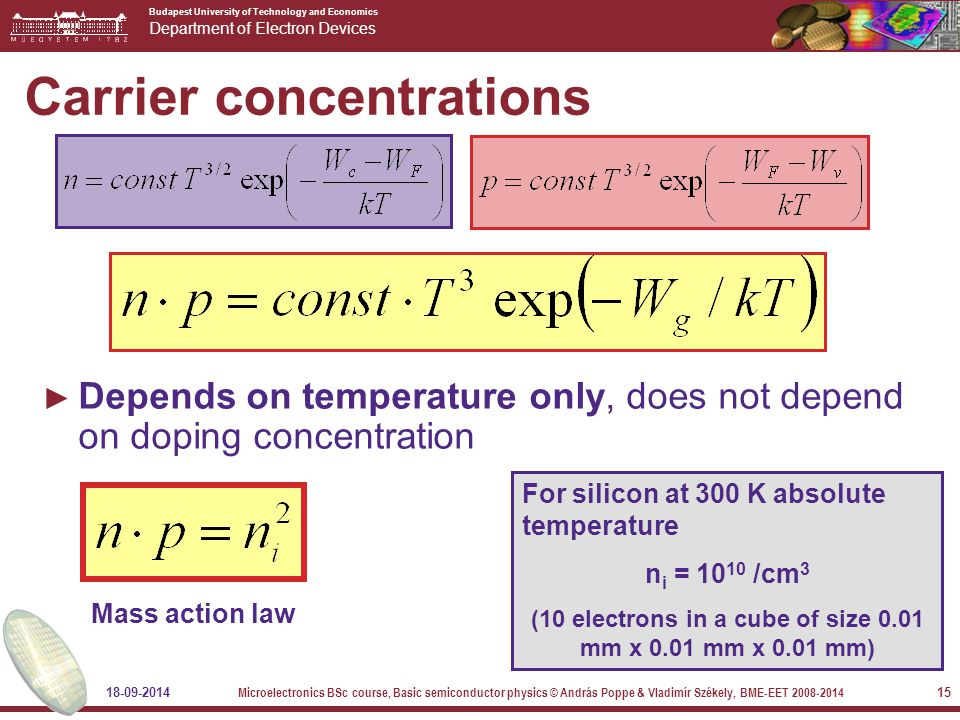 Budapest University of Technology and Economics Department of Electron Devices 18-09-2014 Microelectronics BSc course, Basic semiconductor physics © András Poppe & Vladimír Székely, BME-EET 2008-2014 15 Carrier concentrations ► Depends on temperature only, does not depend on doping concentration For silicon at 300 K absolute temperature n i = 10 10 /cm 3 (10 electrons in a cube of size 0.01 mm x 0.01 mm x 0.01 mm) Mass action law