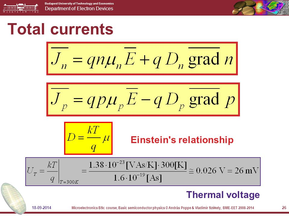 Budapest University of Technology and Economics Department of Electron Devices 18-09-2014 Microelectronics BSc course, Basic semiconductor physics © András Poppe & Vladimír Székely, BME-EET 2008-2014 26 Total currents Einstein s relationship Thermal voltage