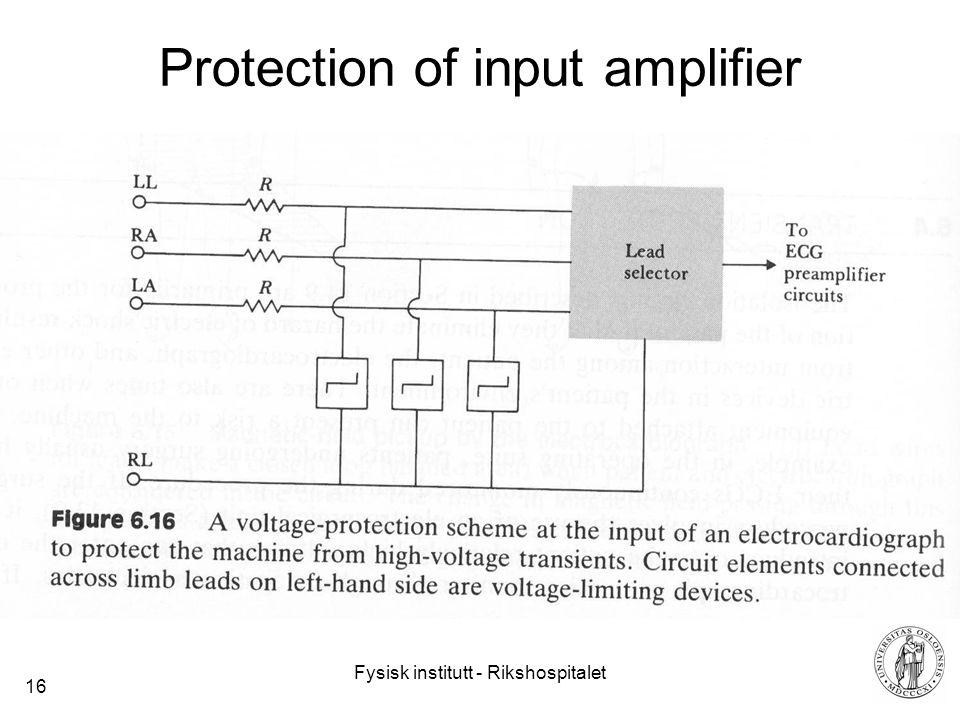 Fysisk institutt - Rikshospitalet 16 Protection of input amplifier