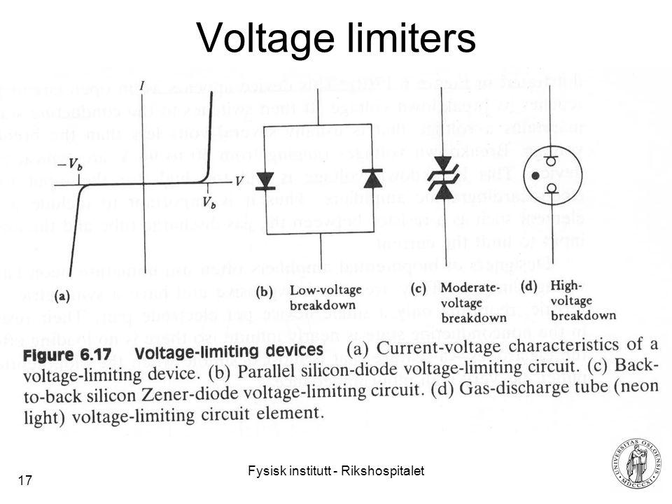 Fysisk institutt - Rikshospitalet 17 Voltage limiters