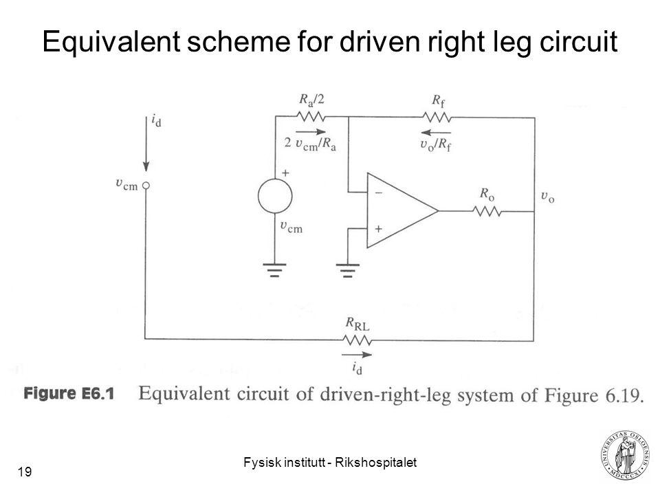 Fysisk institutt - Rikshospitalet 19 Equivalent scheme for driven right leg circuit