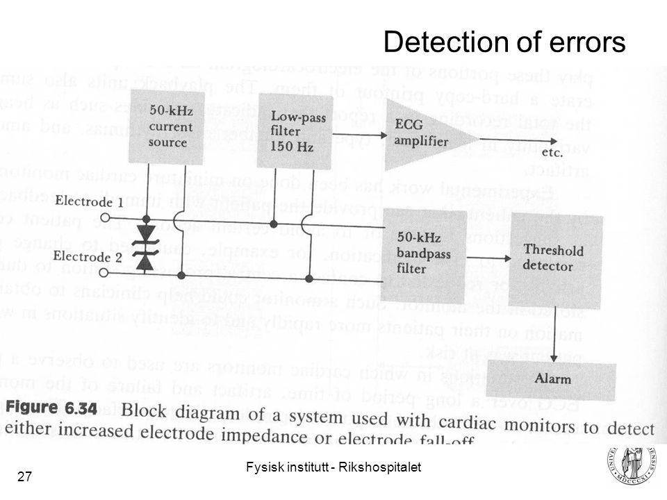 Fysisk institutt - Rikshospitalet 27 Detection of errors