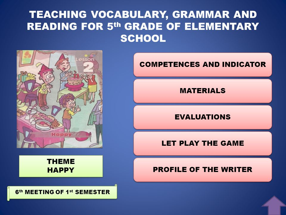 TEACHING VOCABULARY, GRAMMAR, AND READING FOR 5 th GRADE OF ELEMENTARY SCHOOL BY I GUSTI AYU NGURAH LESMANA DEWI O8.2773 CLICK TO START.