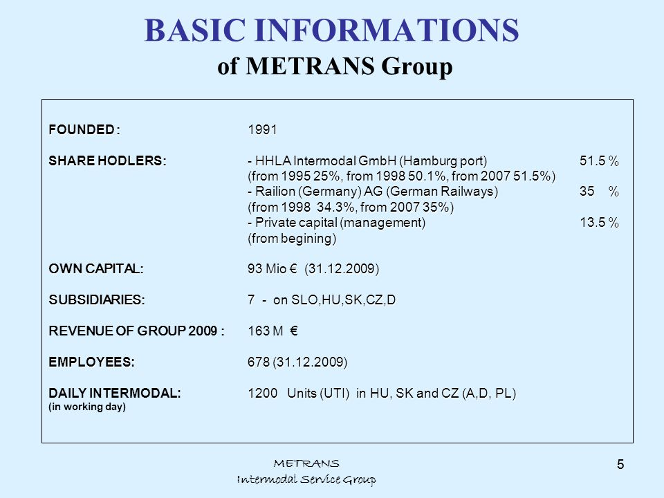 METRANS Intermodal Service Group 5 BASIC INFORMATIONS of METRANS Group FOUNDED :1991 SHARE HODLERS :- HHLA Intermodal GmbH (Hamburg port) 51. 5 % (fro