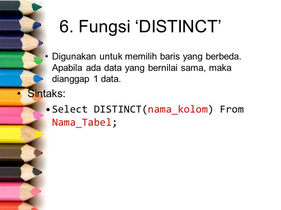 6. Fungsi 'DISTINCT' Digunakan untuk memilih baris yang berbeda.