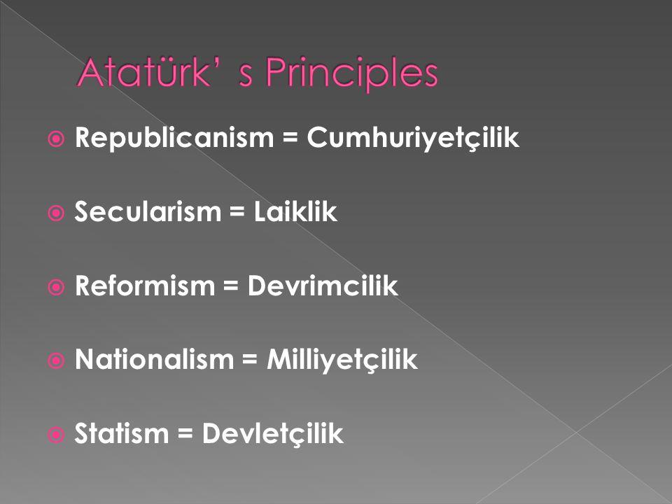  Republicanism = Cumhuriyetçilik  Secularism = Laiklik  Reformism = Devrimcilik  Nationalism = Milliyetçilik  Statism = Devletçilik