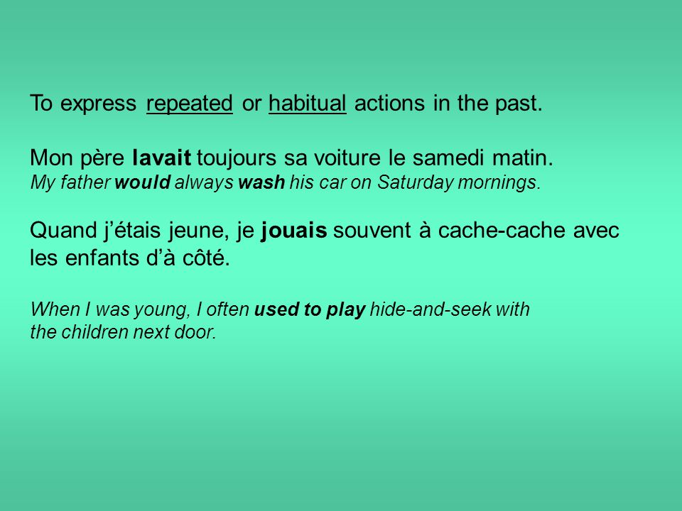 To express repeated or habitual actions in the past.