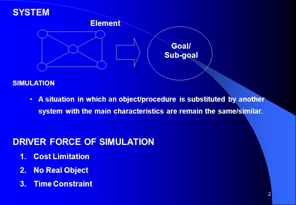 2 SYSTEM Element Goal/ Sub-goal SIMULATION A situation in which an object/procedure is substituted by another system with the main characteristics are remain the same/similar.