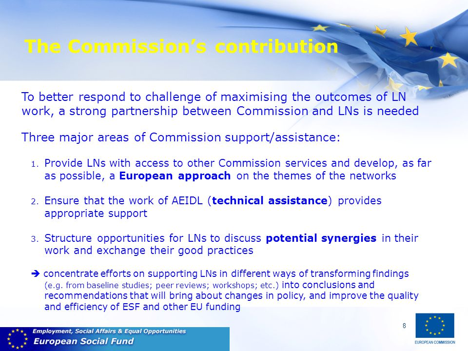 8 The Commission's contribution To better respond to challenge of maximising the outcomes of LN work, a strong partnership between Commission and LNs is needed Three major areas of Commission support/assistance: 1.