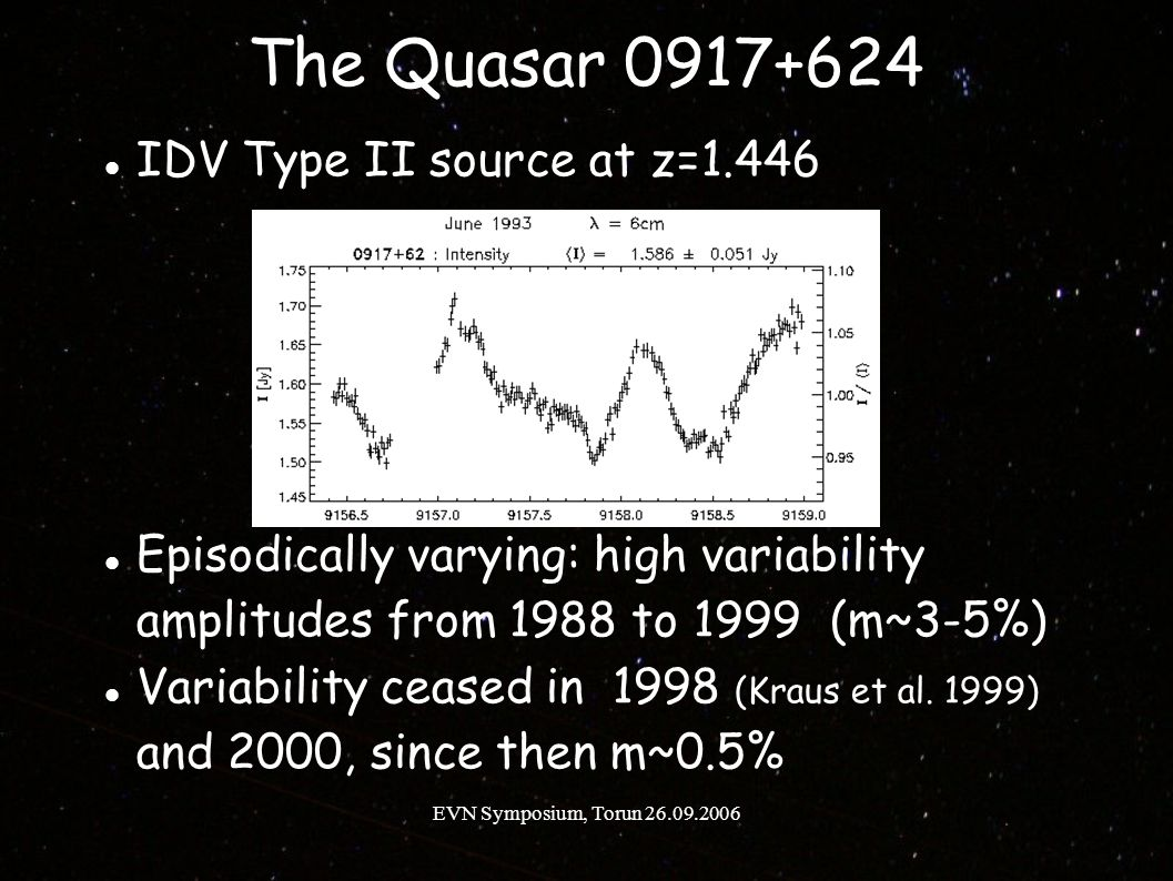 EVN Symposium, Torun 26.09.2006 The Quasar 0917+624 IDV Type II source at z=1.446 Episodically varying: high variability amplitudes from 1988 to 1999 (m~3-5%) Variability ceased in 1998 (Kraus et al.