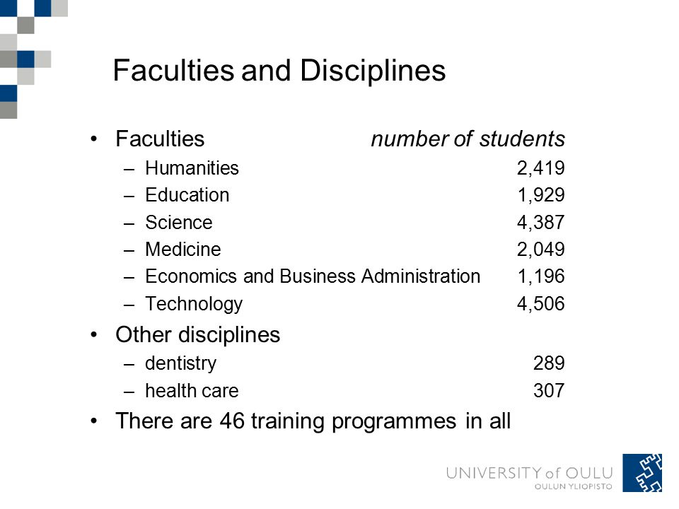 Faculties and Disciplines Facultiesnumber of students –Humanities 2,419 –Education 1,929 –Science 4,387 –Medicine 2,049 –Economics and Business Administration 1,196 –Technology 4,506 Other disciplines –dentistry 289 –health care 307 There are 46 training programmes in all