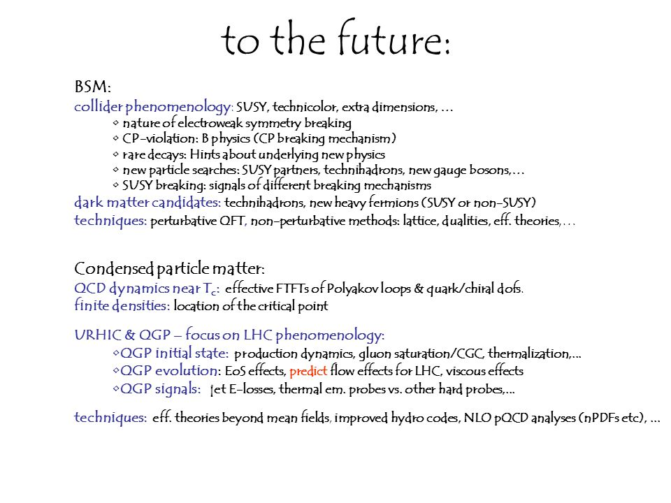 to the future: BSM: collider phenomenology: SUSY, technicolor, extra dimensions, … nature of electroweak symmetry breaking CP-violation: B physics (CP breaking mechanism) rare decays: Hints about underlying new physics new particle searches: SUSY partners, technihadrons, new gauge bosons,… SUSY breaking: signals of different breaking mechanisms dark matter candidates: technihadrons, new heavy fermions (SUSY or non-SUSY) techniques: perturbative QFT, non-perturbative methods: lattice, dualities, eff.