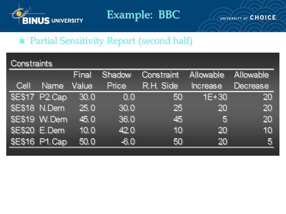 n Partial Sensitivity Report (first half)