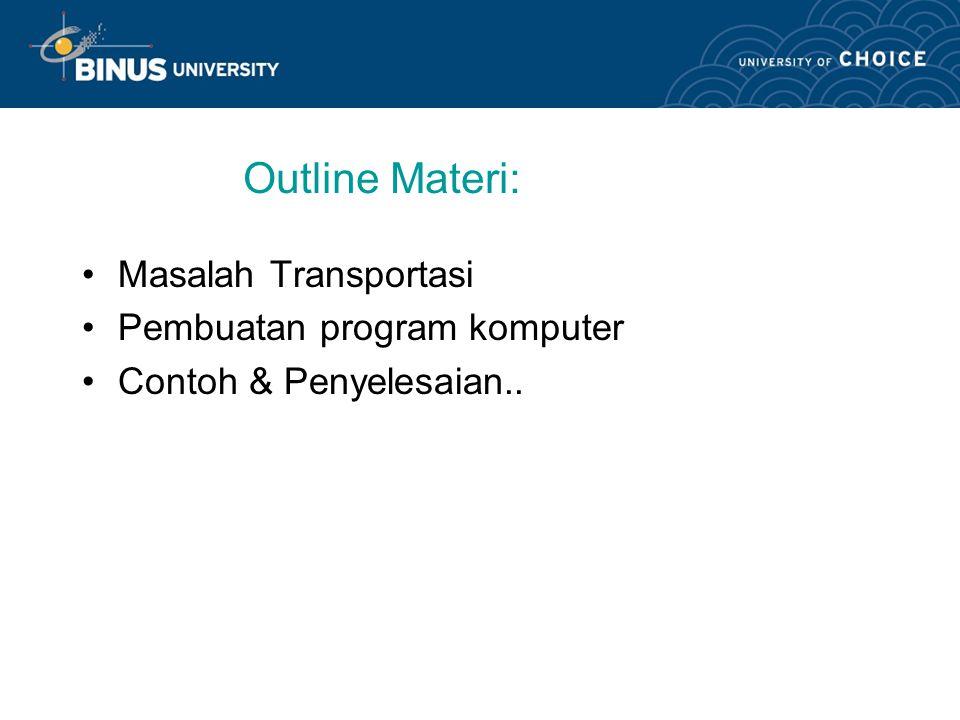 Learning Outcomes Mahasiswa dapat menghitung solusi model transportasi dengan menggunakan program komputer..