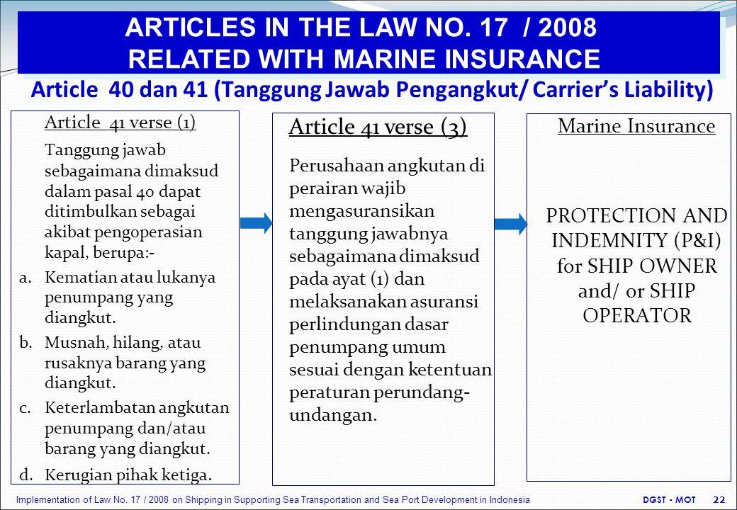 Article 40 dan 41 (Tanggung Jawab Pengangkut/ Carrier's Liability) Article 41 verse (1) Tanggung jawab sebagaimana dimaksud dalam pasal 40 dapat ditimbulkan sebagai akibat pengoperasian kapal, berupa:- a.Kematian atau lukanya penumpang yang diangkut.