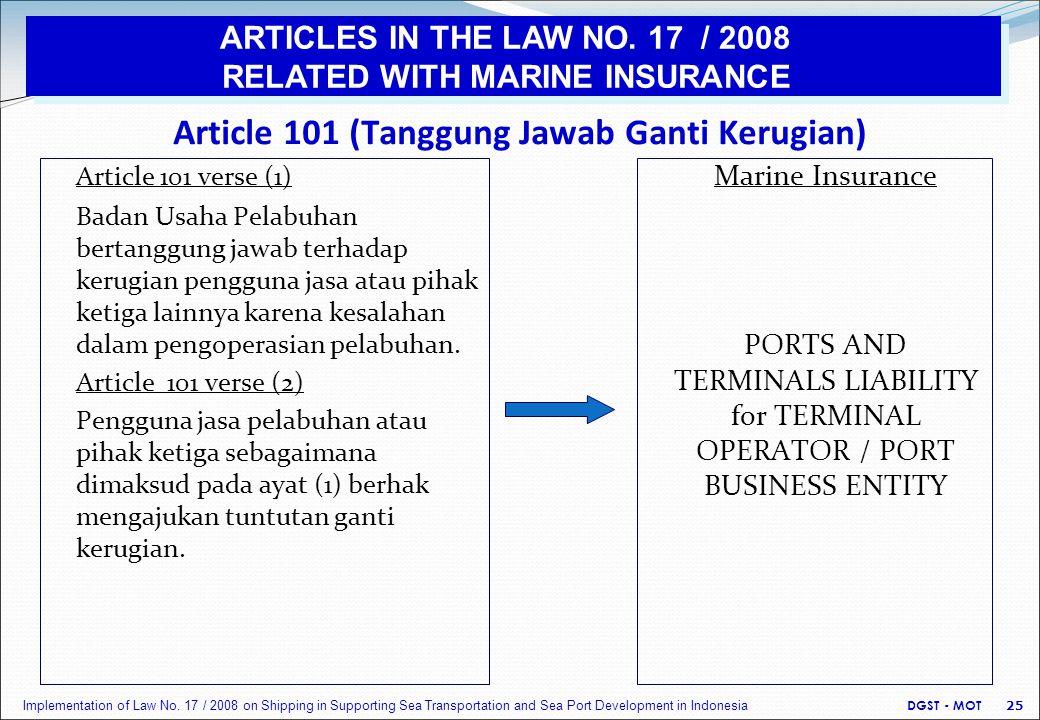 Article 101 (Tanggung Jawab Ganti Kerugian) Article 101 verse (1) Badan Usaha Pelabuhan bertanggung jawab terhadap kerugian pengguna jasa atau pihak ketiga lainnya karena kesalahan dalam pengoperasian pelabuhan.
