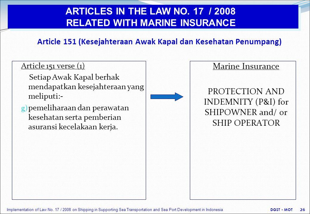 Article 151 (Kesejahteraan Awak Kapal dan Kesehatan Penumpang) Article 151 verse (1) Setiap Awak Kapal berhak mendapatkan kesejahteraan yang meliputi:- g) pemeliharaan dan perawatan kesehatan serta pemberian asuransi kecelakaan kerja.